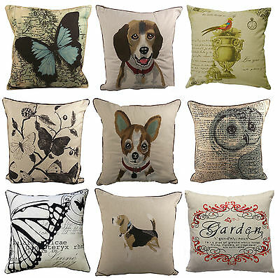 "Home Decorative Cushion Covers Butterfly Dog Owl Size 18"" x 18"" Pack of 4"