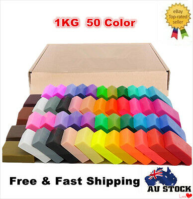 1KG 50 Colors DIY Craft Malleable Fimo Polymer Modelling Soft Clay Block Set