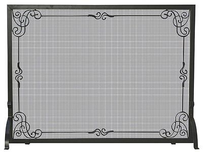 UniFlame S-1025 Single Panel Black Wrought Iron Screen With Decorative Scroll