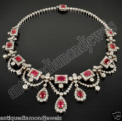 11.50ct Rose Cut Diamond  Ruby Victorian Style Wedding Necklace