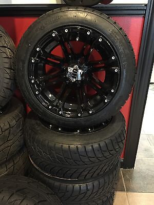 NEW HD3 All Black Golf Cart Wheels And Tires Complete Set!