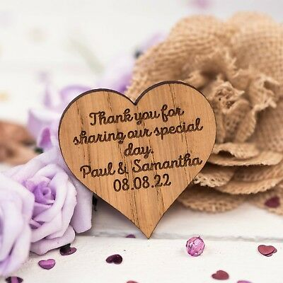 Personalised Wooden Heart Table Decorations Wedding Favours Confetti 03TN