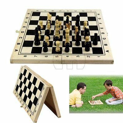 Classic Wooden Chess Set Board Game Foldable Portable Travel Kids Fun Gift UK