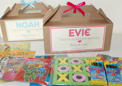 Personalised Filled Childrens Wedding Activity Gift Box Pack Party Favour KRAFT