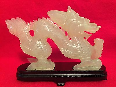 Oriental Green Jade Hand Carved Dragon With Wood Stand In Original Box Rare