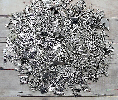 WHOLESALE HUGE LOT/1000 Antique Silver Mixed Assorted Charms/Jewelry,Crafts/BULK
