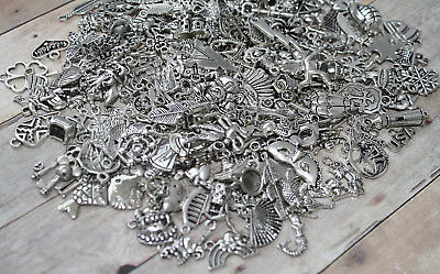 LOT of 100 Mixed Assorted Silver Charms /Jewelry,Scrapbook,Crafts/Wholesale BULK