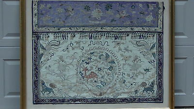 Antique Chinese  Large Silk Embroidery Panel With Dear,crane ,phoenix &foo-Lions