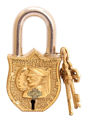 Vintage Style Antique Marshal Design Lock with 2 Keys for Home Temple Gift