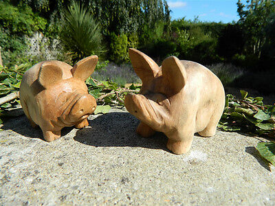 Wooden Pig Carving - Pair of Hand Carved Pot Bellied Pigs
