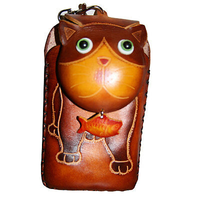 Brown Cat Leather Cell Phone Case
