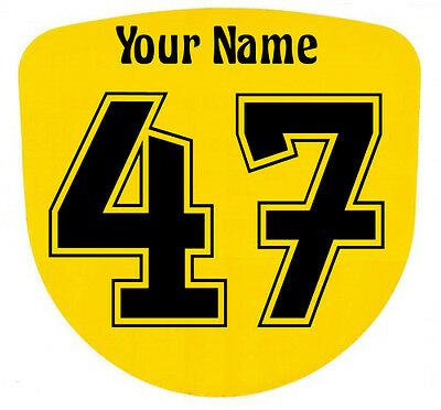 3 x Custom Race Numbers and Name Stickers Decals Kart Motocross MX Dirt Bike -S3