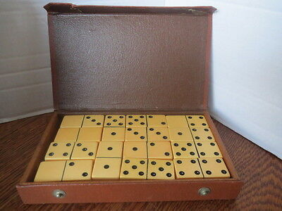 VTG Butterscotch BAKELITE Dominoes Set 28 Thick Heirloom DISGUISED AS A BOOK