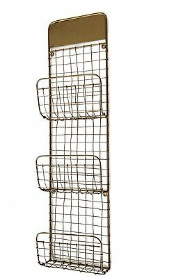 Antique Copper Wire Newspaper Rack Industrial Mesh Magazine Holder Wall Storage