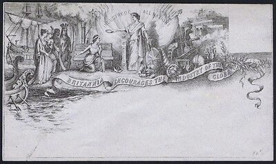 1850 Valentine Industry of All Nations Envelope State 1 Very Good Unused