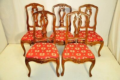 italian Set of 5 French Beechwood Matched Side Dining Chairs 19th c
