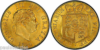 1820 George Iii Mint State Gold Half Sovereign Pcgs Ms62+
