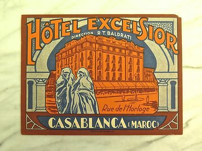 Hôtel Excelsior, Casablanca... Rare Circa 1920 Original Luggage Label