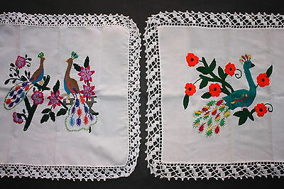 Mexican Native Embroidered Placemats Ethnic Textile Folk Art Craft Home Decor