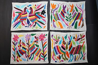 4 Mexican Handembroidered Placemats Latin Native Ethnic Textile Folk Art Table