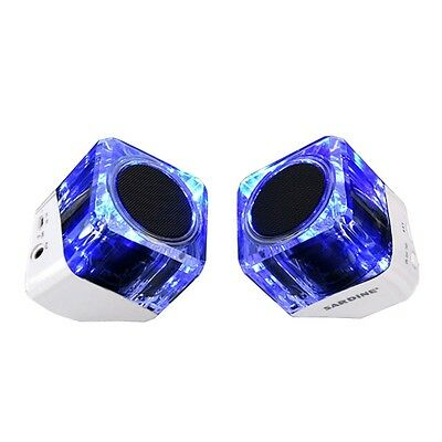 Bluetooth Speakers Portable Lights Crystal Speaker Stereo Wireless White