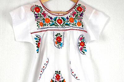 Hand Embroidered White Dress Made Mexico New Boho Size Small Stunning Quality
