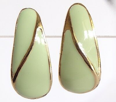 Vintage Pierced Earring Pastel Green Enamel w Gold Tone Highlights Exc Cond 36