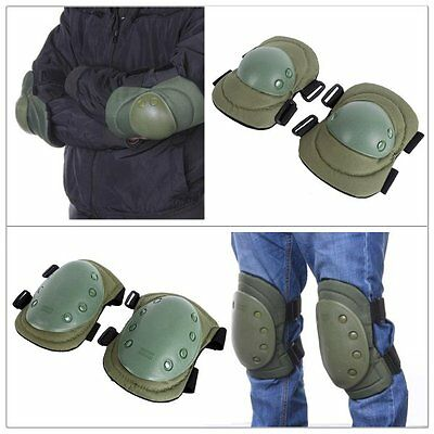 4Pcs Set Outdoor Tactical Padded Military Combat Protective Rubber Knee Pads