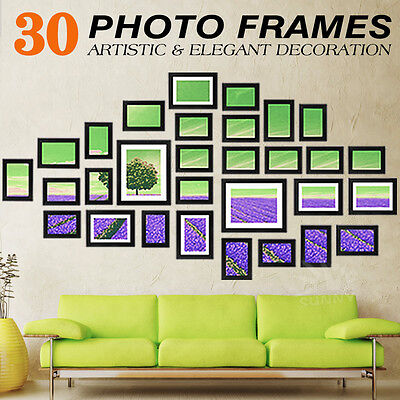 30PCS Black Photo Frame Set Picture Home Wall Mounted Decor Birthday Present
