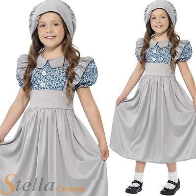 Girls Victorian School Girl Book Week Child Fancy Dress Costume Outfit Age 4-12