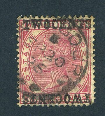 Mauritius 1891 QV. 2c on 4c carmine. Used. SURCH DOUBLE, ONE INVERTED. SG 118c.