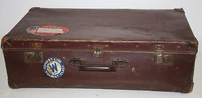 Antique Vintage  Large Brown Suitcase Luggage With Traveling Labels