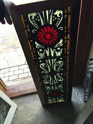 Sg 686 Antique Painted And Fired Stainglass Window 14.375 X 45 And Three-Quarter