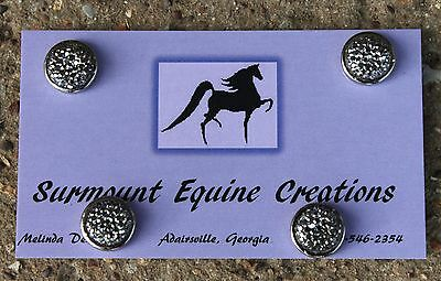 Horse Show Number Magnets - Silver Dotted Rhinestone Gem - English, Western