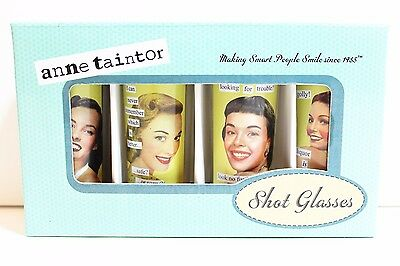 NEW in Box Anne Taintor Set of 4 Tall Shot Glasses 2 oz. Original Vintage Humor