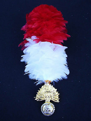 Royal Regiment Of Fusiliers Army Cap/Beret Badge+Red/White Feather Hackle Plume