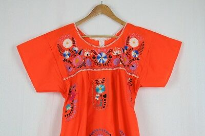 Hand Embroidered Orange Dress Made Mexico New Boho Size Large Stunning Quality