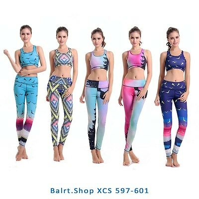 New Women's Gym Fitness Outfit Yoga Workout Activewear Sports Bra&Leggings Set