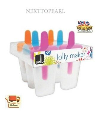 Pack of 6 Bright & Colourful Kids Ice Lolly Makers By Bello,NEW