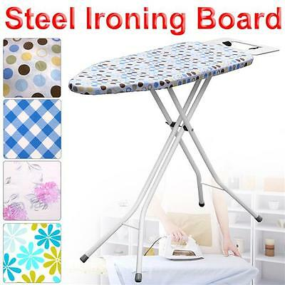 Large Wide Light Weight Steel Ironing Board 10Step Height & Cotton Fabric Cover