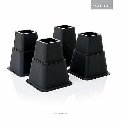 STRUCTURES Heavy Duty Multi Height Bed Risers-8 Piece Set by MALOUF (ST53BKBR)
