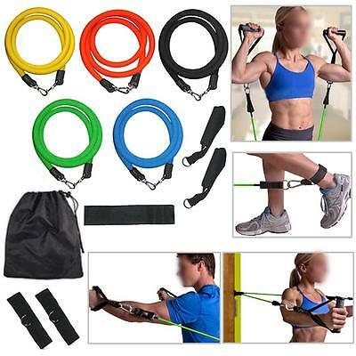 Resistance Bands Set 11pc Exercise Yoga Fitness Workout Stretch Heavy Duty Tubes