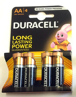 4 x Genuine DURACELL AA Batteries Alkaline MN1500 LR6 Long Lasting Battery