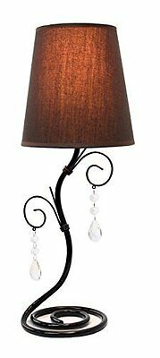 LT2010-BWN Twisted Vine Table Lamp with Fabric Shade and Hanging Beads, Brown