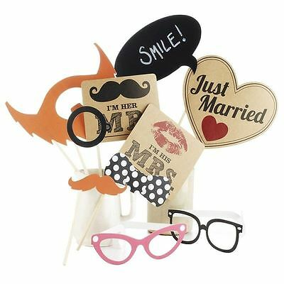 10pcs Just Married Photo Booth Party Props A Vintage Affair Mr & Mrs