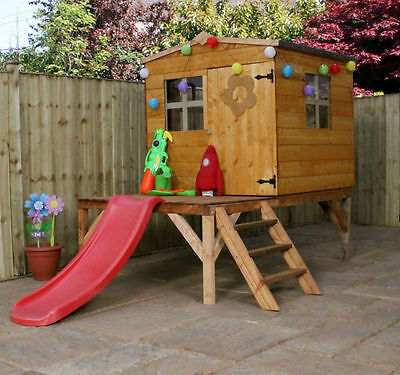 5ft WOODEN CHILDRENS PLAYHOUSE CHILDS TOWER SLIDE SET 5ft WOODEN WENDY HOUSE NEW
