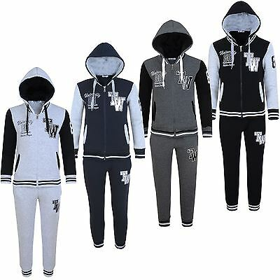 Boys Girls Tracksuit Kids University Print Hooded Top Jogging Bottoms 3-16Y