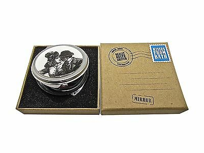 Vintage Compact Pocket Mirror Kisses In Box Retro Gift Folding Make Up Magnifier