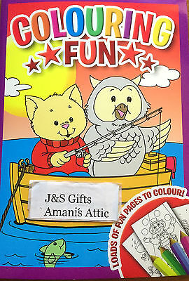 New Kids Children's Fun Colouring Activity Learning Book 48 Pages Owl and Cat