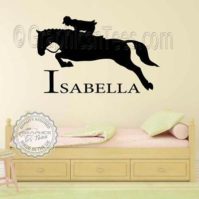 personalised name & horse wall stickers, boys girls bedroom playroom decal